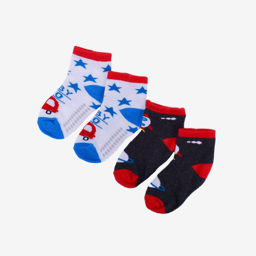 Assorted Space Print Baby Boy Knit Ankle Socks 2 in 1 pack