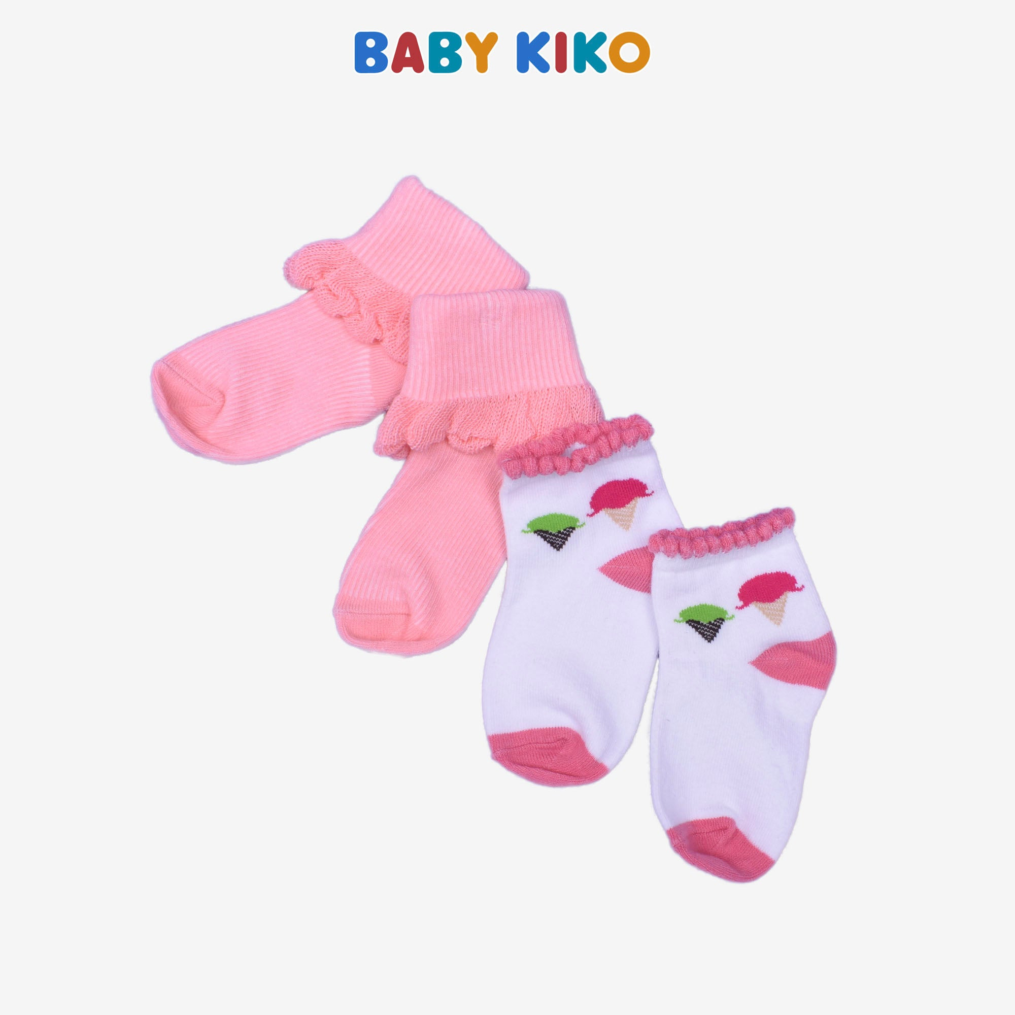 Assorted Ice Cream Print Baby Girl Knit Socks 2 in 1 pack