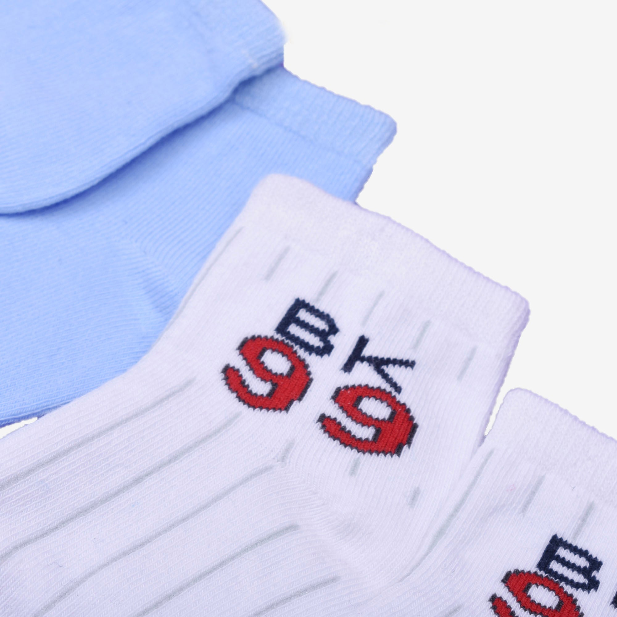 Assorted Baby Blue Knit Ankle Socks 2 in 1 pack
