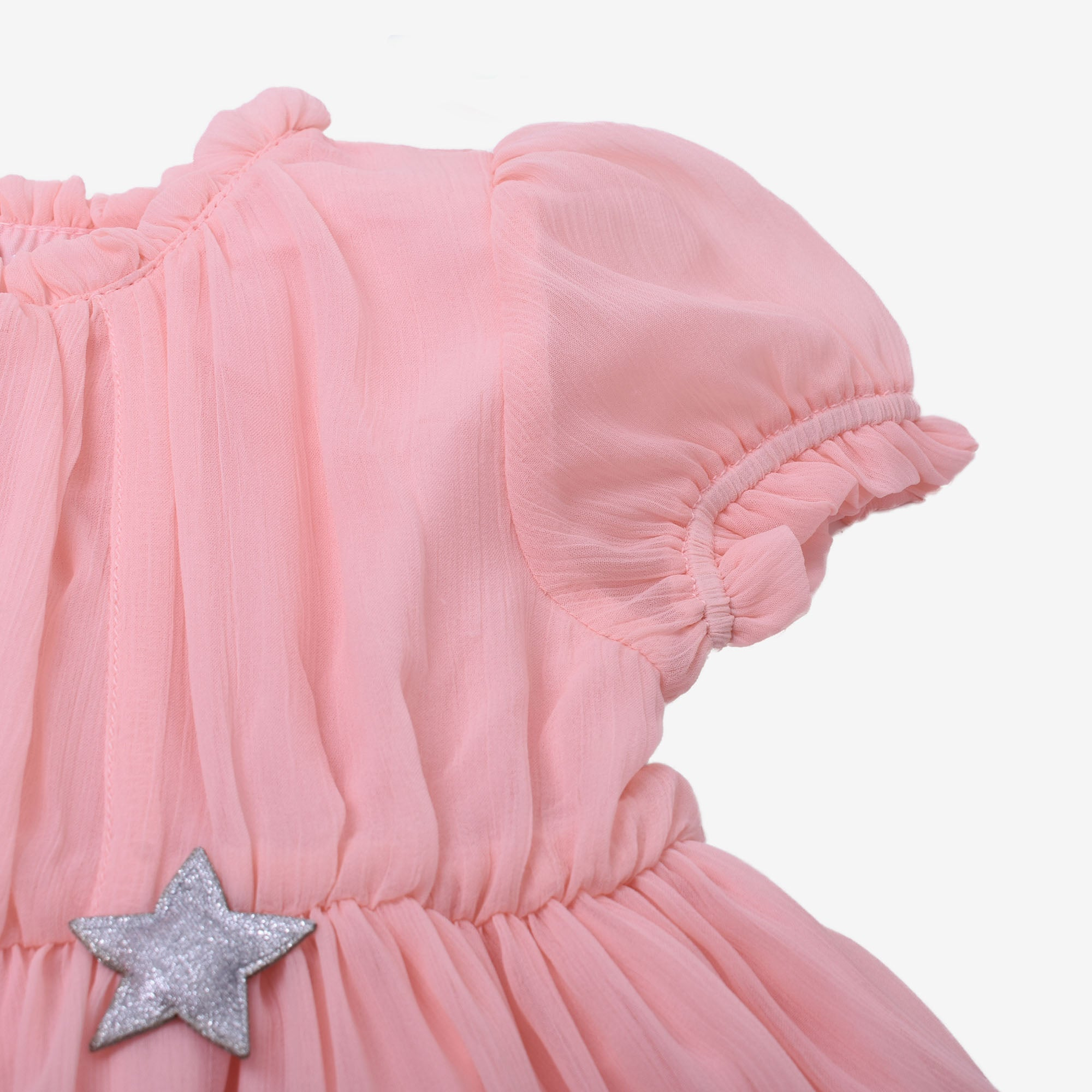 Starry Dream Short Sleeve Dress - Peach
