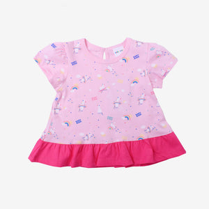 Fantasy Unicorn Short Sleeve Tee - Light Pink
