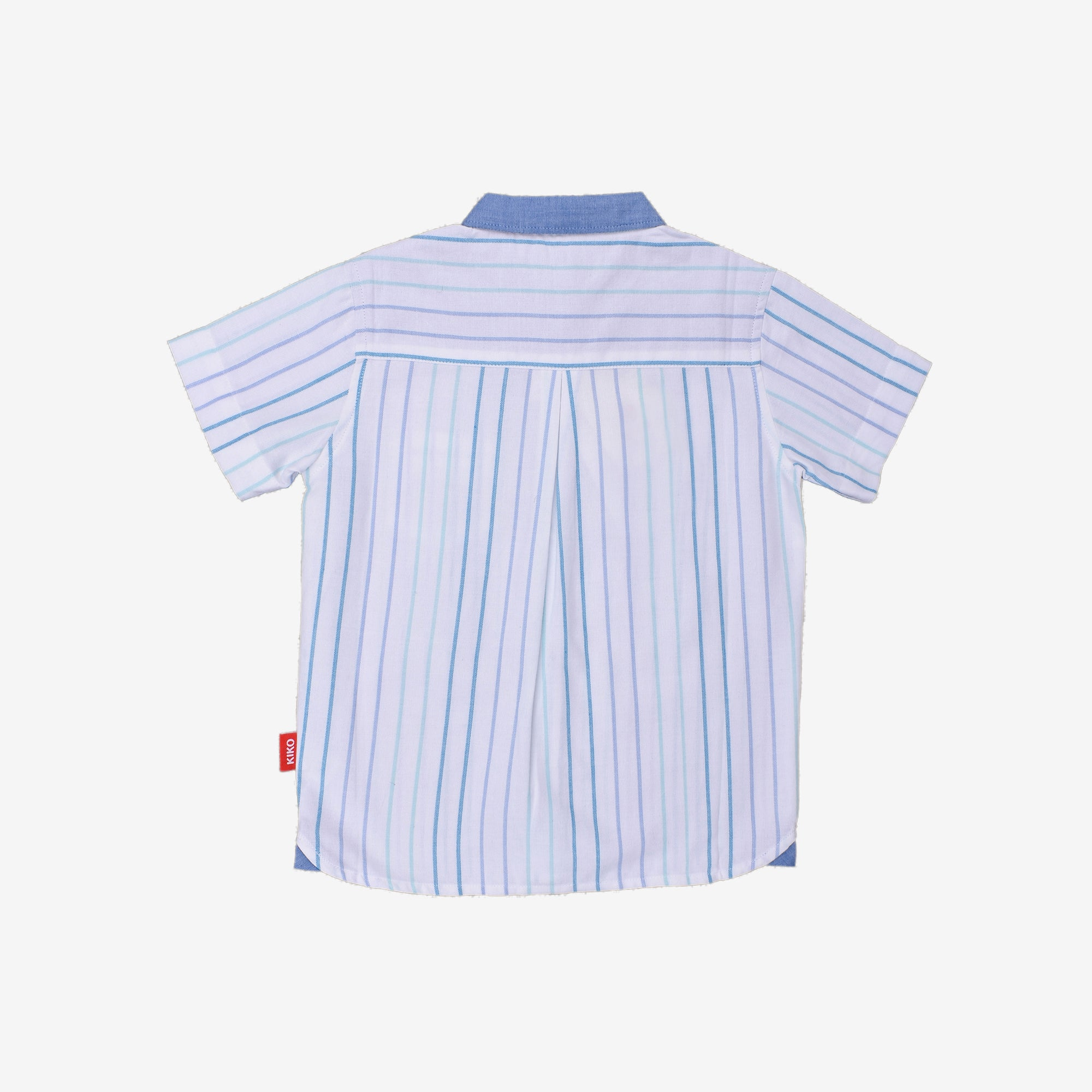 Short Sleeve Shirt Stripe With Fun Cartoon Pocket