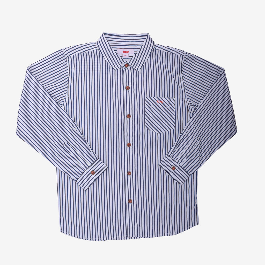 100% Cotton Poplin Stripe Long Sleeve Shirt