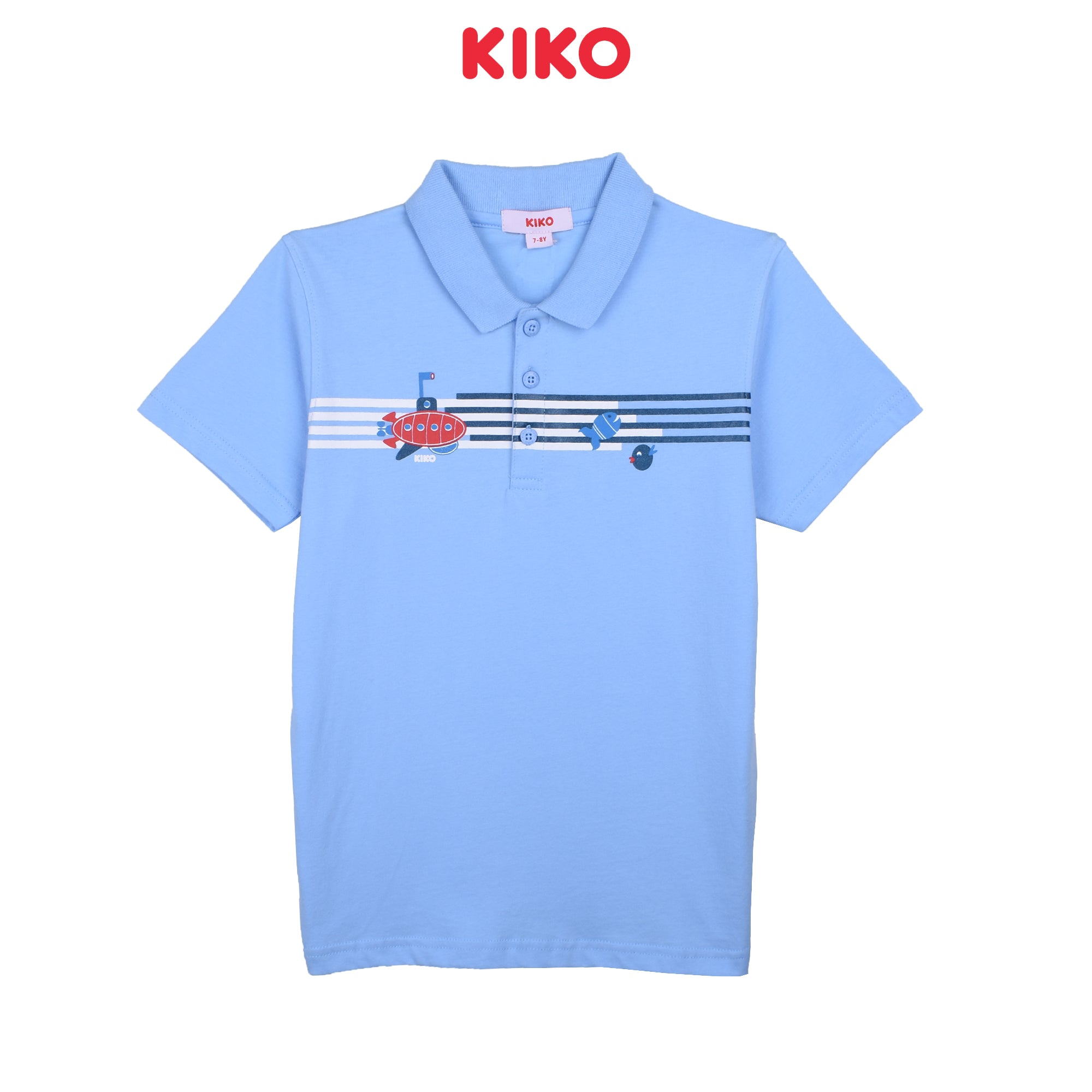 KIKO BOY BASIC SHORT SLEEVE COLLAR TEE - BLUE K922103-1296-L5