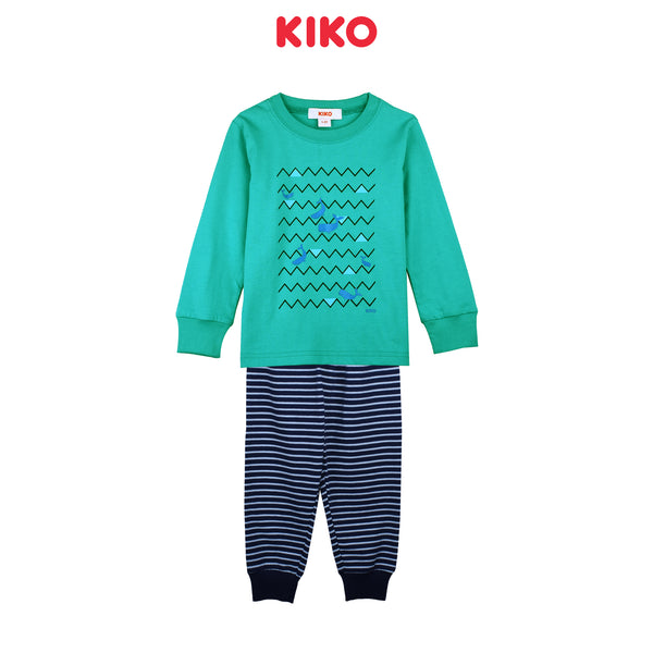 KIKO BOY SLEEPWEAR LONG SLEEVE LONG PANTS SUIT - GREEN K922104-4349-N5