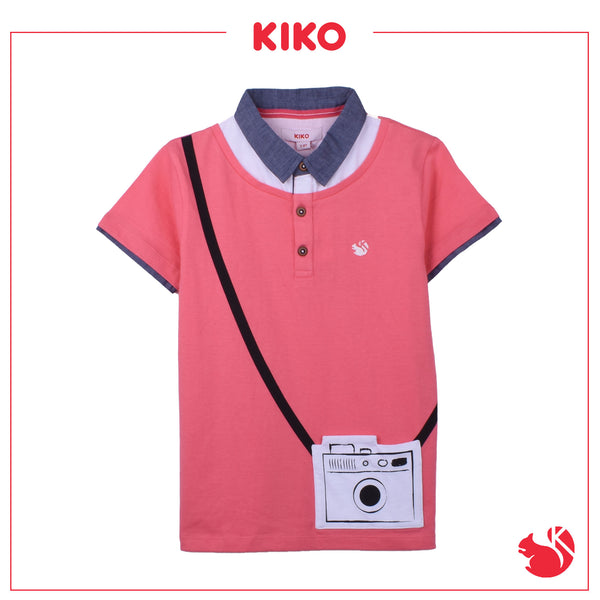 KIKO BOY FASHION SHORT SLEEVE COLLAR TEE - PINK K932001-1218-P5