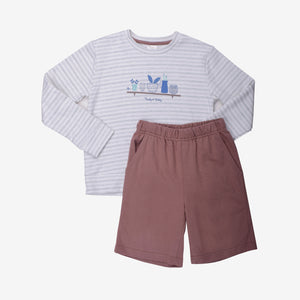 Small Cozy Garden Long Sleeve Bermuda Set