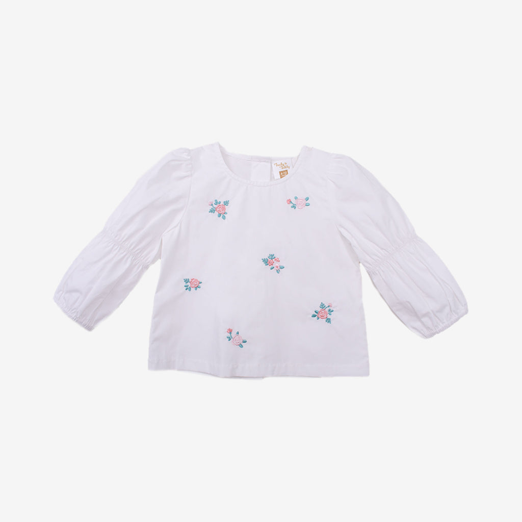 Embroidery Floral Puffy Long Sleeve Blouse