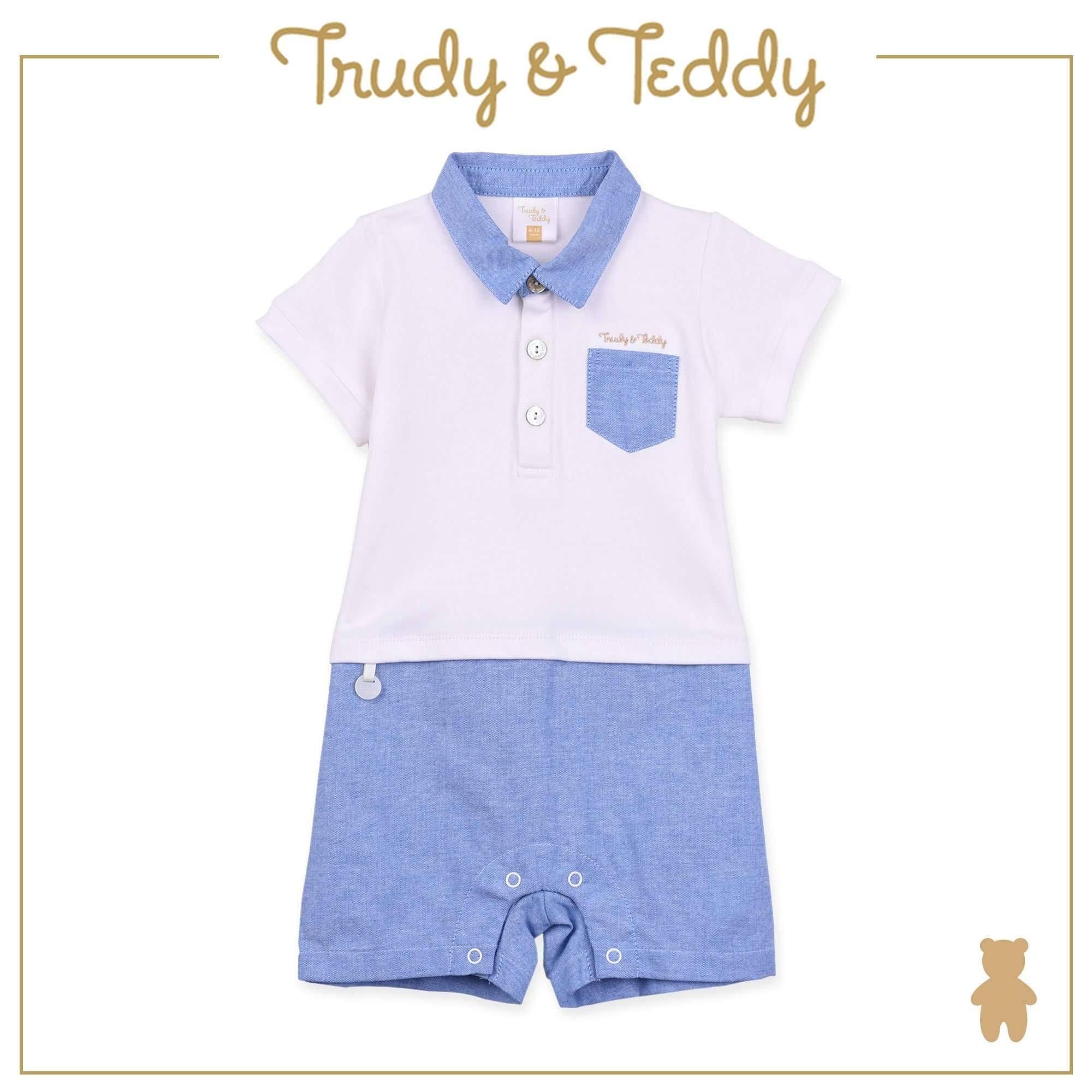 Trudy & Teddy Baby Boy Knit Short Sleeve Short Romper - Cream T911001-3623-W5 : Buy Trudy & Teddy online at CMG.MY