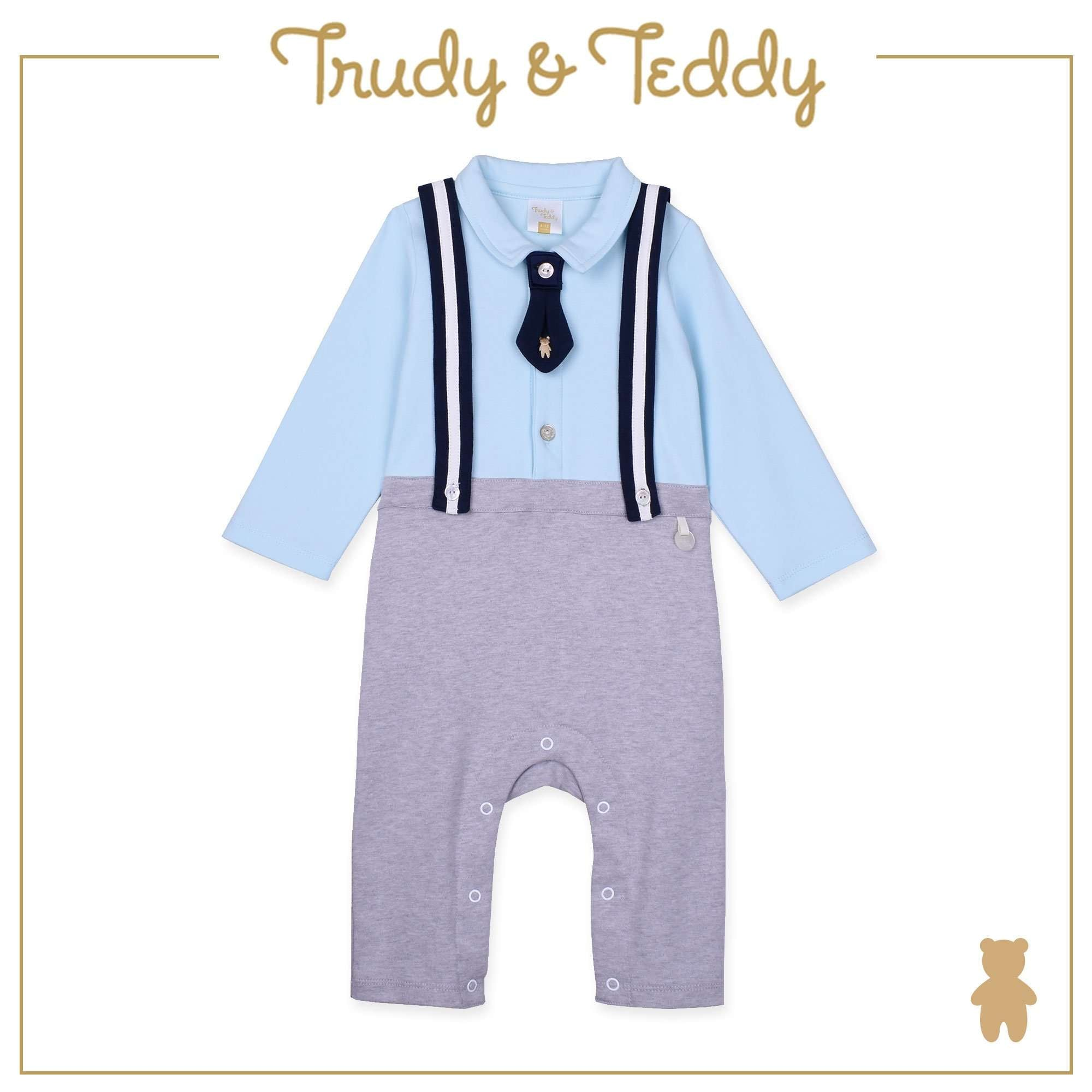 Trudy & Teddy Baby Boy Knit Long Sleeve Long Romper - Light Blue T921002-3621-L1 : Buy Trudy & Teddy online at CMG.MY