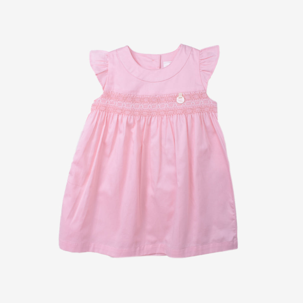 A- Line Smocking Dress in Baby Pink