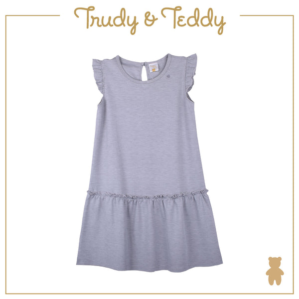 Trudy & Teddy Girl BASIC Dress with Hairband Suit  - Grey T944103-4835-G5