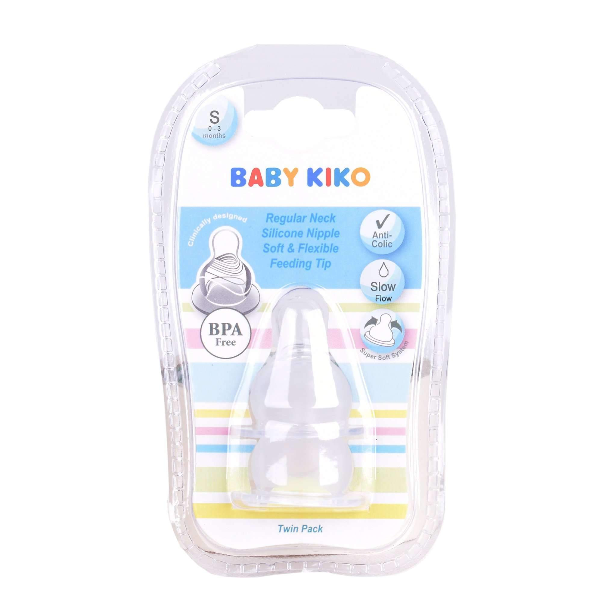 Baby KIKO Anti-Colic Regular Neck Silicone Nipples - 2 pcs Per Pack 3502-002 : Buy Baby KIKO online at CMG.MY