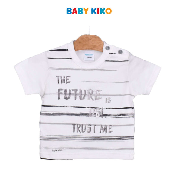 Baby KIKO Baby Boy Short Sleeve Tee-White 330146-112 : Buy Baby KIKO online at CMG.MY