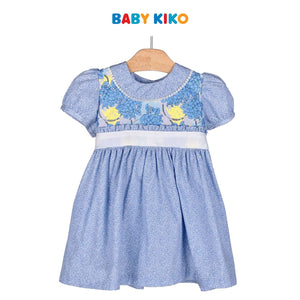 Baby KIKO Baby Girl Short Sleeve Dress - Blue Floral 310189-312 : Buy Baby KIKO online at CMG.MY