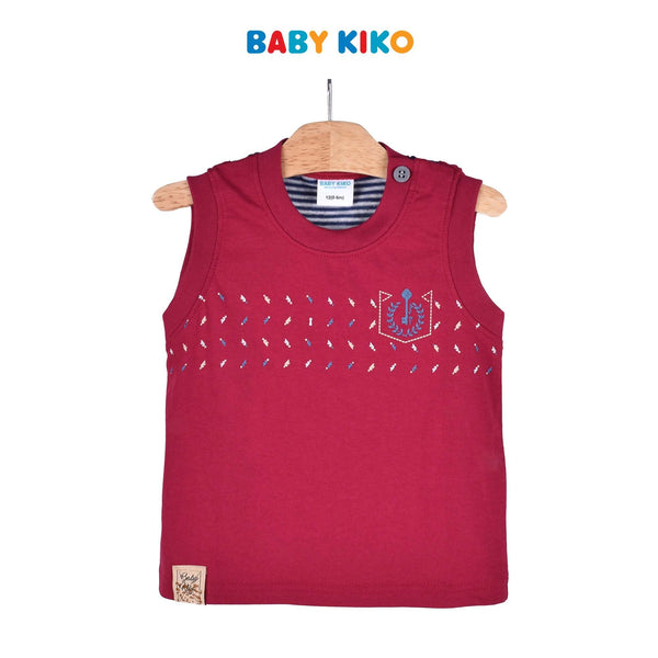 Baby KIKO Baby Boy Sleeveless Tee - Maroon 330063-101 : Buy Baby KIKO online at CMG.MY