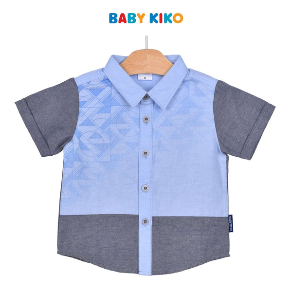 Baby KIKO Toddler Boy Short Sleeve Shirt - Blue Grey 315124-142 : Buy Baby KIKO online at CMG.MY
