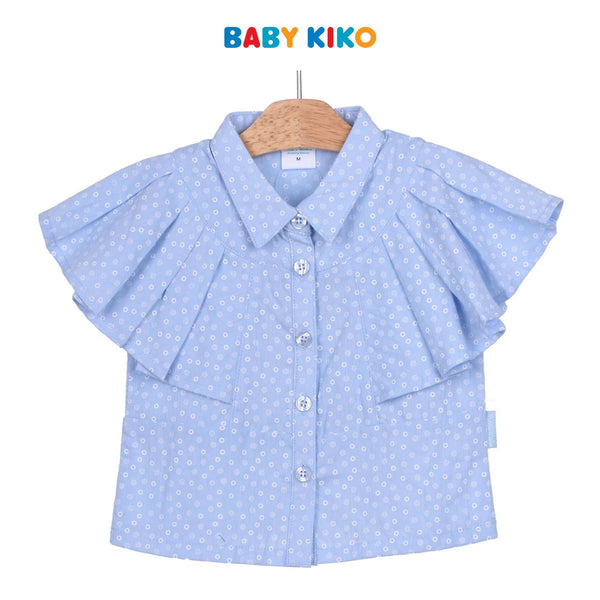 Baby KIKO Toddler Girl Short Sleeve Blouse - Blue 335128-141 : Buy Baby KIKO online at CMG.MY