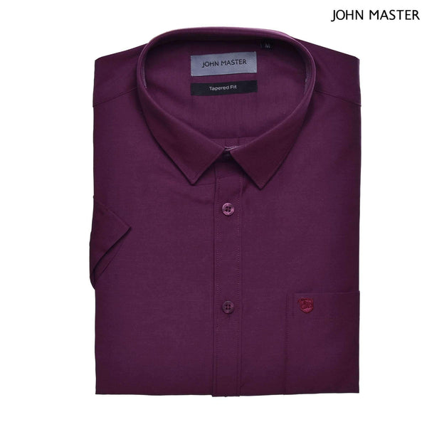 John Master Basic Eseential Short Sleeve Shirt Darker Maroon 7267001 : Buy John Master online at CMG.MY