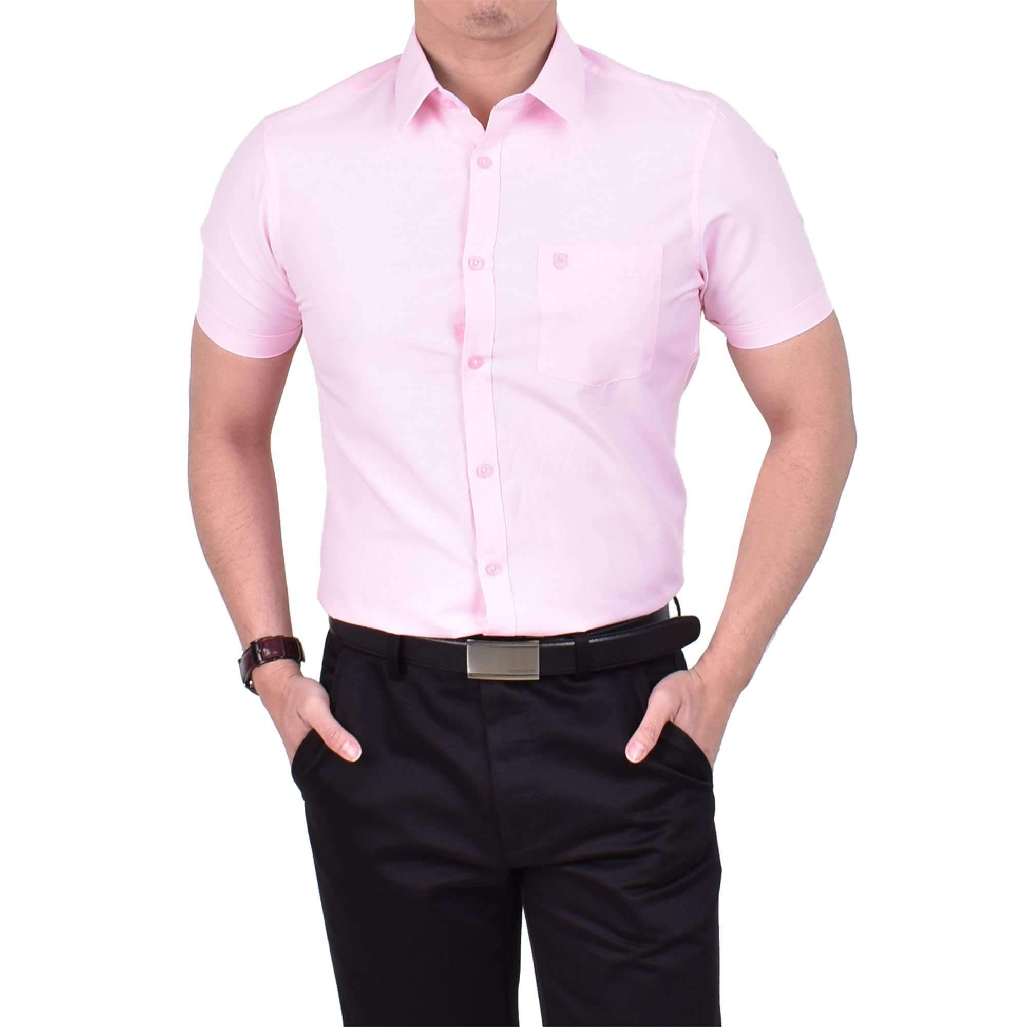 John Master Basic Eseential Short Sleeve Shirt Light Pink 7267001 : Buy John Master online at CMG.MY