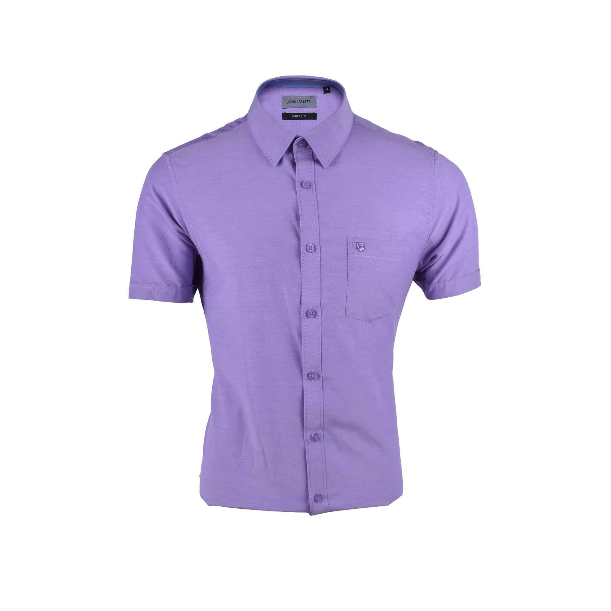 John Master Basic Eseential Short Sleeve Shirt Medium Purple 7267001 : Buy John Master online at CMG.MY