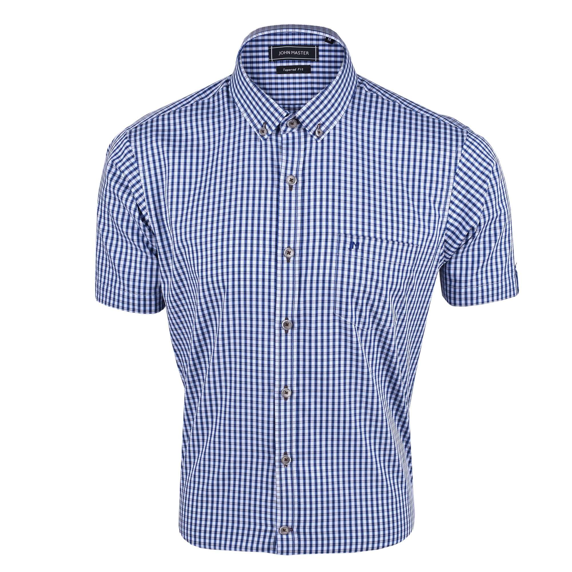 John Master Business Regular Short Sleeve Shirt - Blue 7067927-L5 : Buy John Master online at CMG.MY