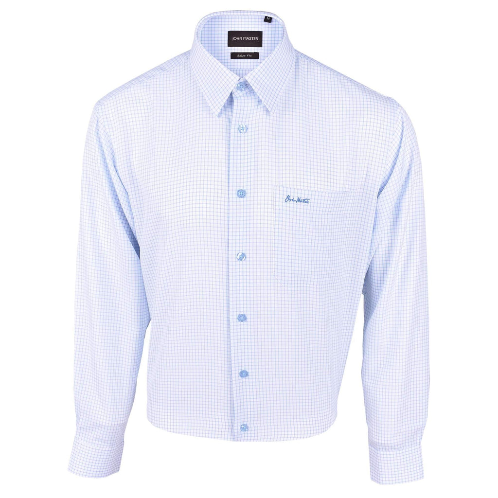 John Master Business Relax Fit Long Sleeves Shirt - Light Blue Line Check 7007009 : Buy John Master online at CMG.MY