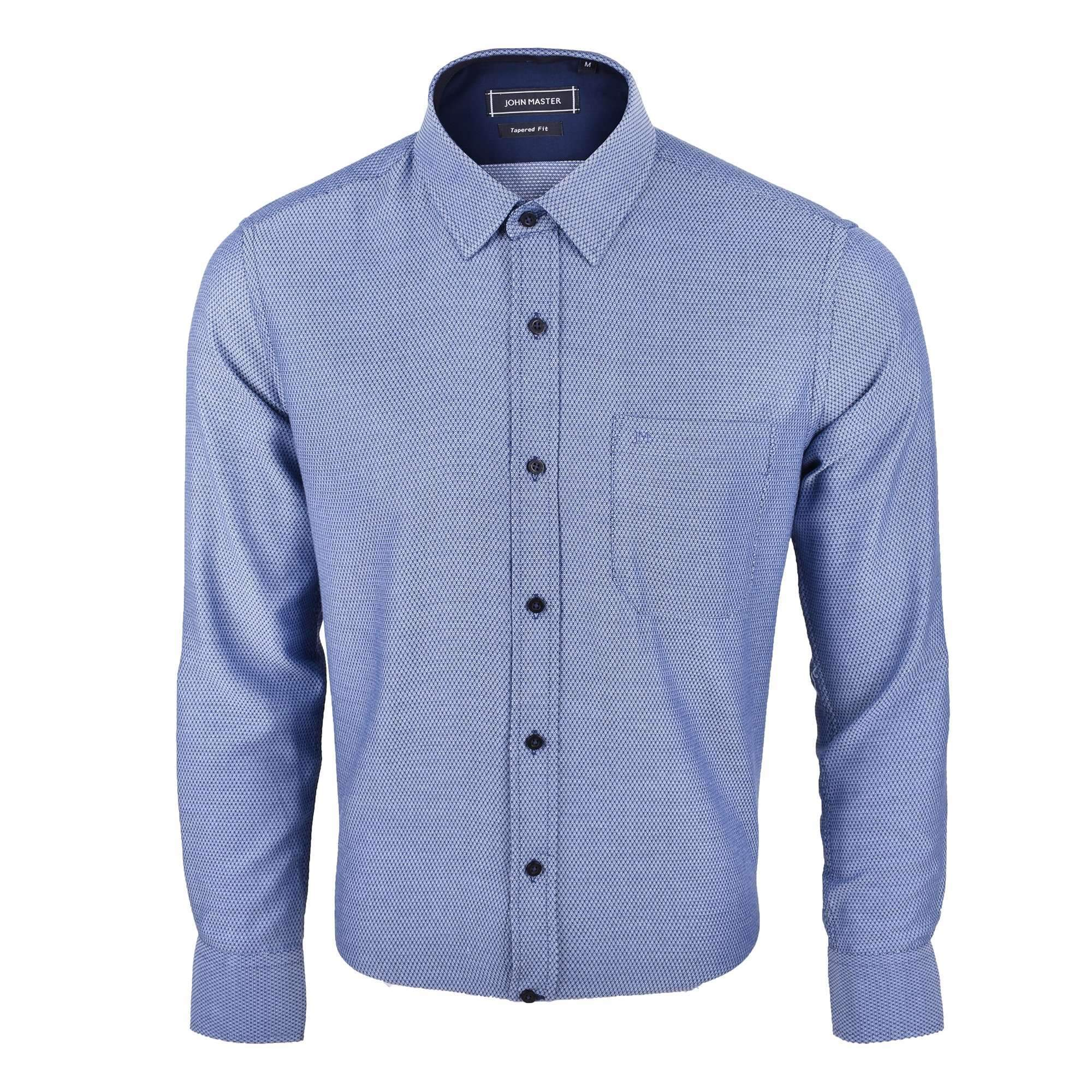John Master Business Tapered Fit Long Sleeves Shirt - Navy 7087308 : Buy John Master online at CMG.MY