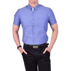John Master Casual Shirt Short Sleeve Dark Blue 7067007 : Buy John Master online at CMG.MY