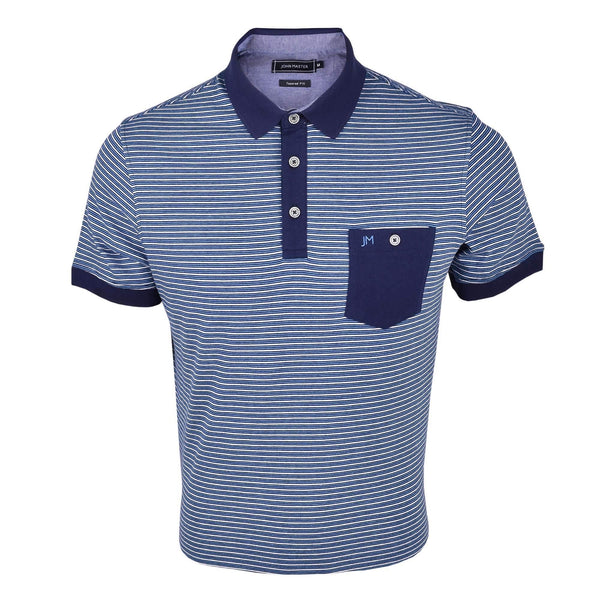 John Master Casual Tapered Fit Short Sleeves Polo Tee - Navy 8087008 : Buy John Master online at CMG.MY