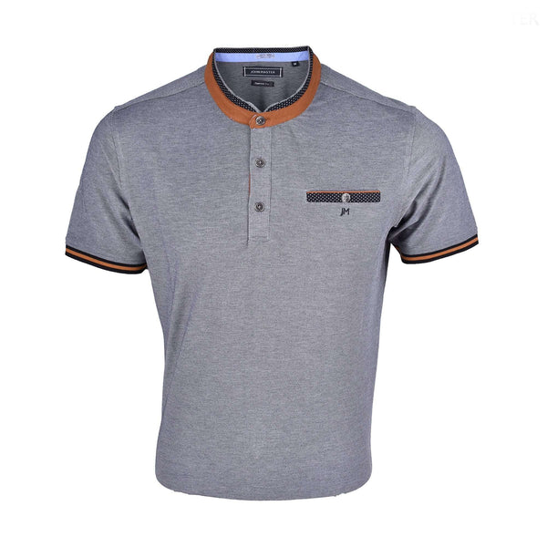 John Master Casual Tapered Short Sleeve Collar Tee - Gray 8087010-G5 : Buy John Master online at CMG.MY