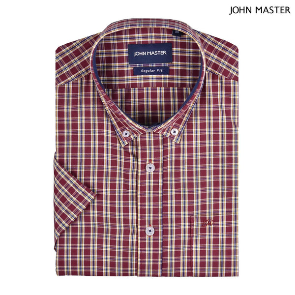 John Master Cotton Blended Short Sleeve Shirt Regular Fit Dark Red 7047026 - R6 : Buy John Master online at CMG.MY