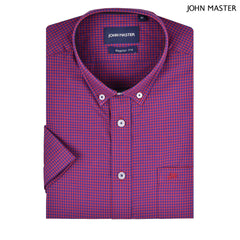 John Master Cotton Blended Short Sleeve Shirt Regular Fit Red 7047024 - R5 : Buy John Master online at CMG.MY