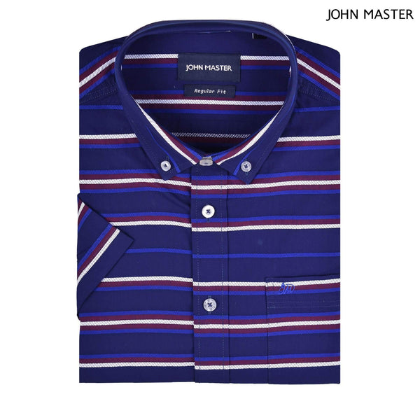 John Master Cotton Short Sleeve Shirt Regular Fit Dark Blue 7047106 - L9 : Buy John Master online at CMG.MY