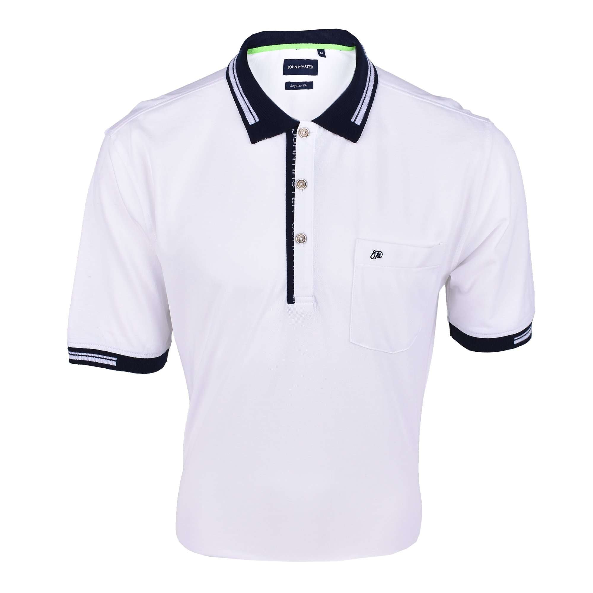 John Master Men Casual Regular Fit Polo Tee White 8008003-AO : Buy John Master online at CMG.MY