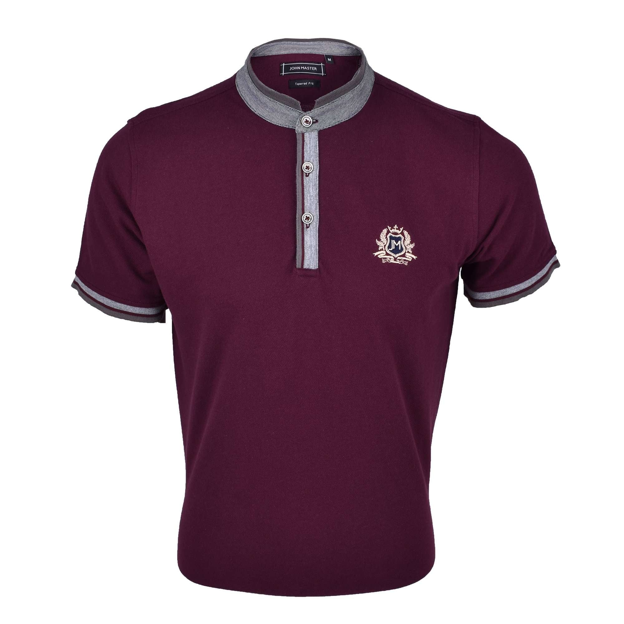 John Master Men Casual Tapered fit Polo Tee Maroon 8088001-R6 : Buy John Master online at CMG.MY