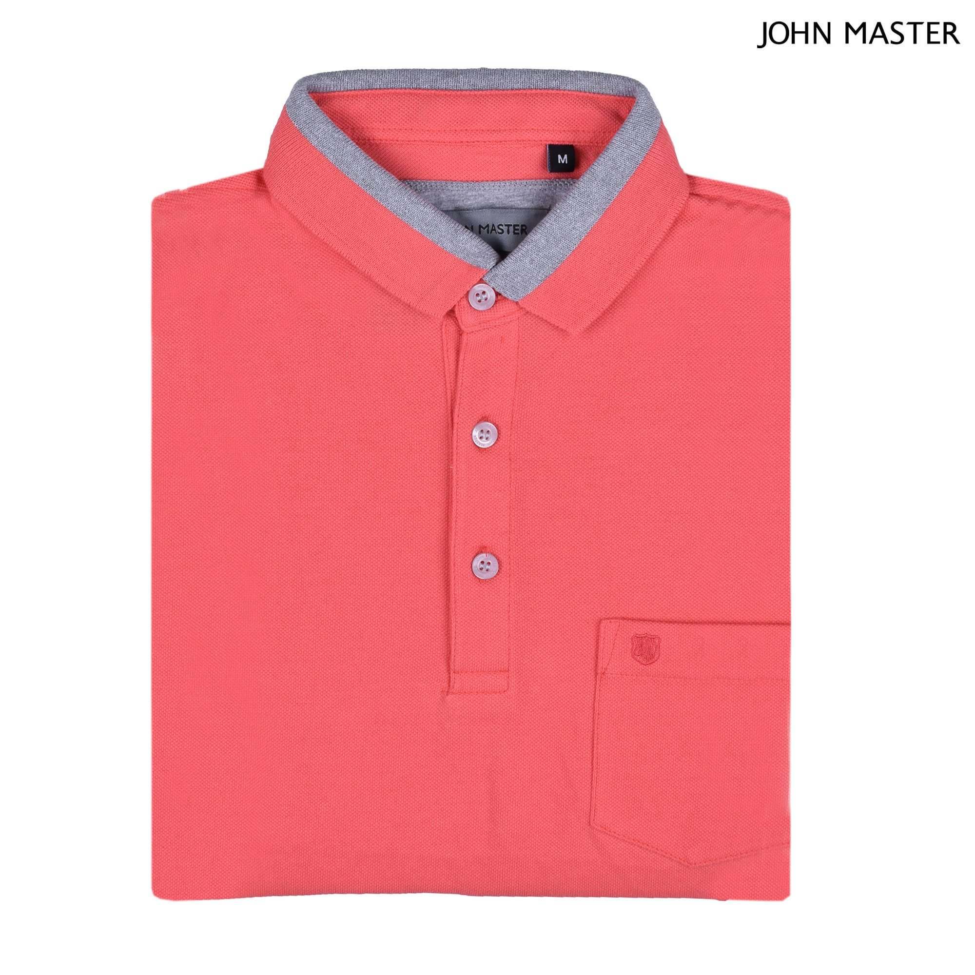 John Master Men Casual Tapered fit Polo Tee Orange 8287009-E5 : Buy John Master online at CMG.MY