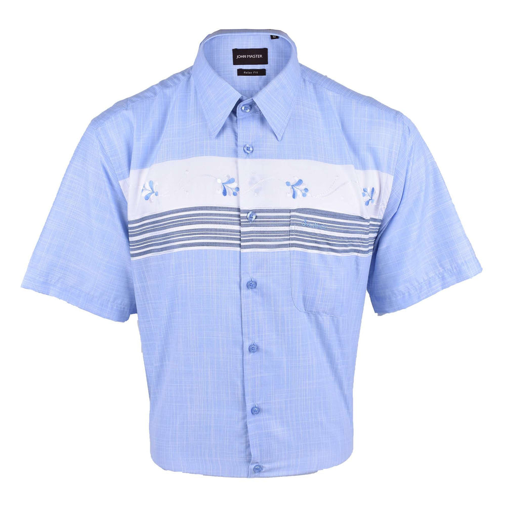 John Master Micro Cotton short sleeve shirt Relax Fit Blue 7037005 : Buy John Master online at CMG.MY