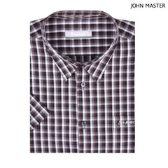 John Master Regular Fit Micro Fiber Casual Short Sleeve Shirts Dark Brown 7147014 : Buy John Master online at CMG.MY