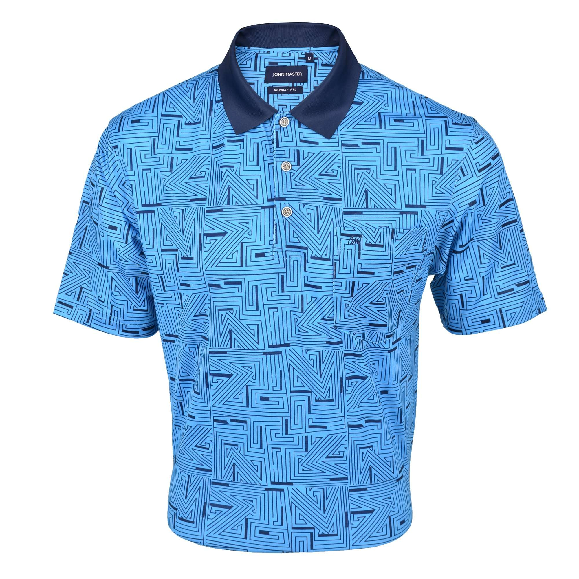 John Master Regular Fit Short Sleeve Polo Tee Turquoise 8068002-T5 : Buy John Master online at CMG.MY