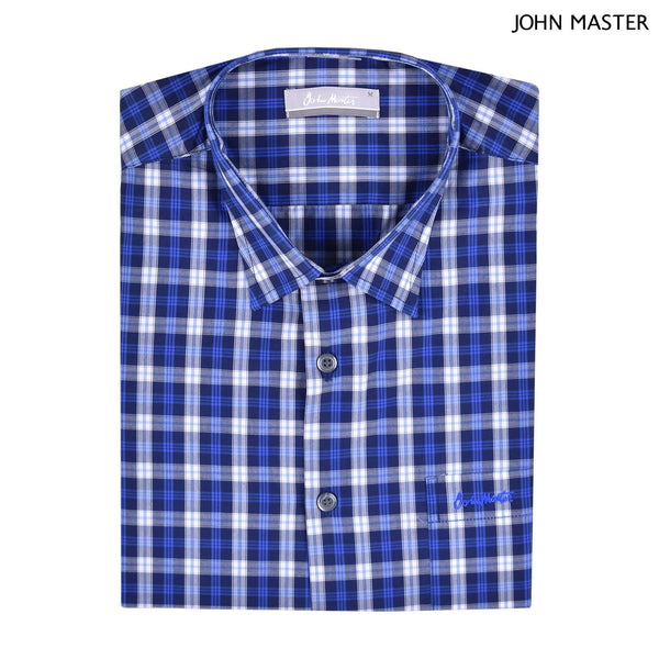 John Master Regular Fit Short Sleeve Shirt Dark Blue 7147036-L8 : Buy John Master online at CMG.MY