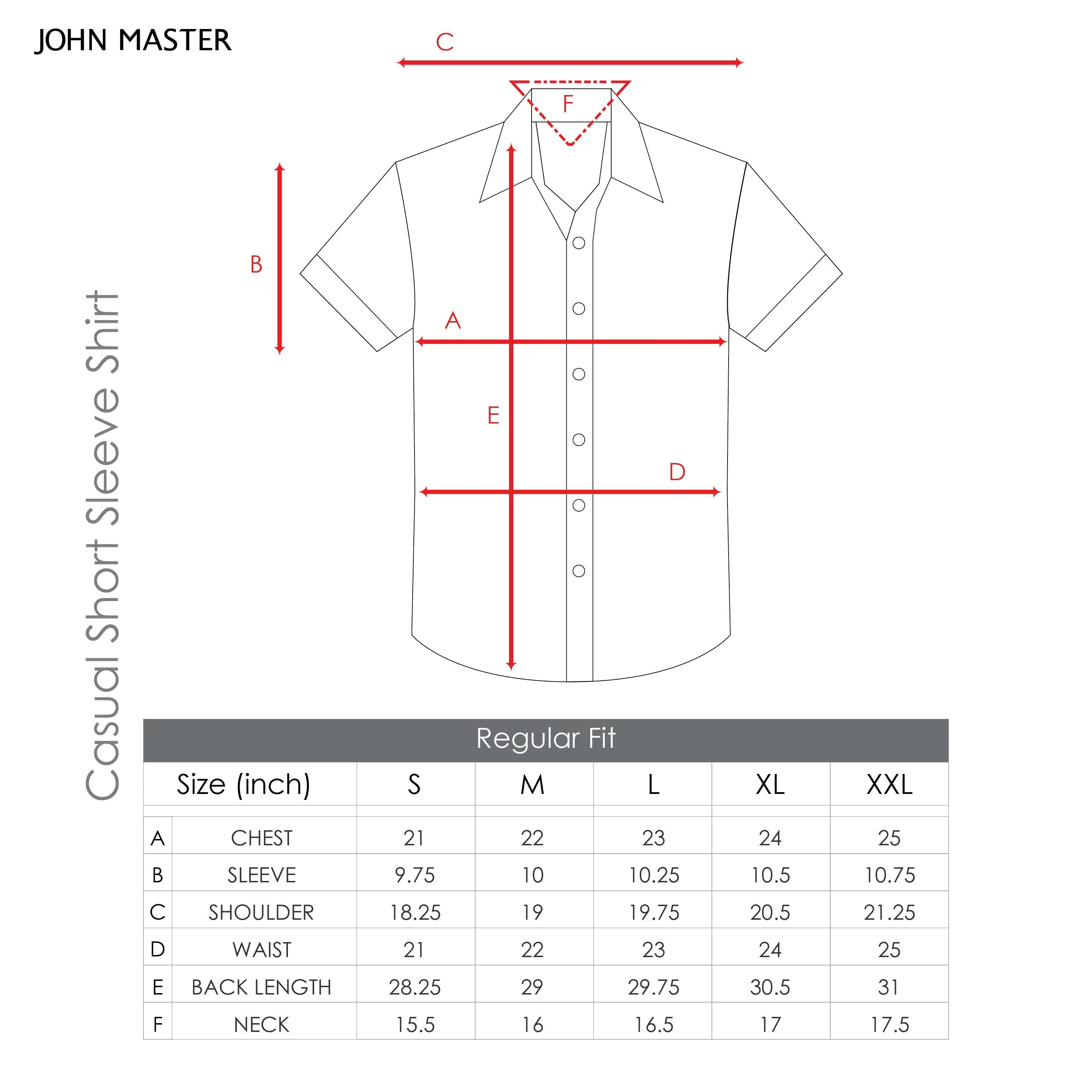 John Master Cotton Short Sleeve Shirt Regular Fit Dark Maroon 7047106 - R9 : Buy John Master online at CMG.MY