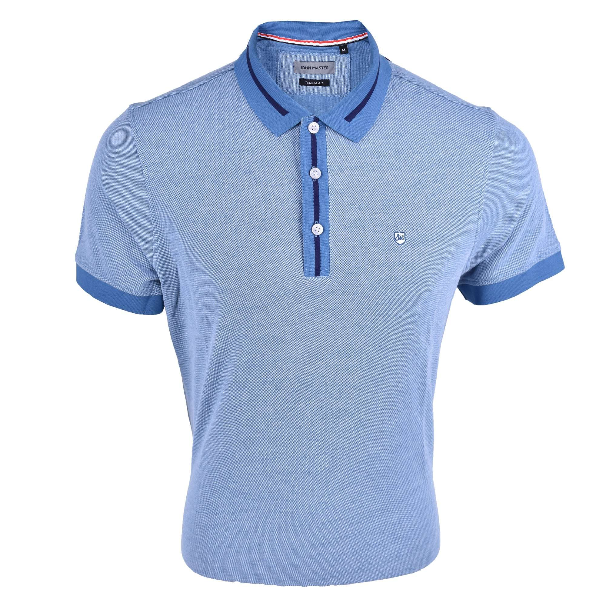 John Master Tapered Fit Cotton Short Sleeve Polo Tee Blue 8287008-L5 : Buy John Master online at CMG.MY