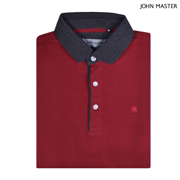 John Master Tapered Fit Cotton Short Sleeve Polo Tee Maroon 8287010-R8 : Buy John Master online at CMG.MY