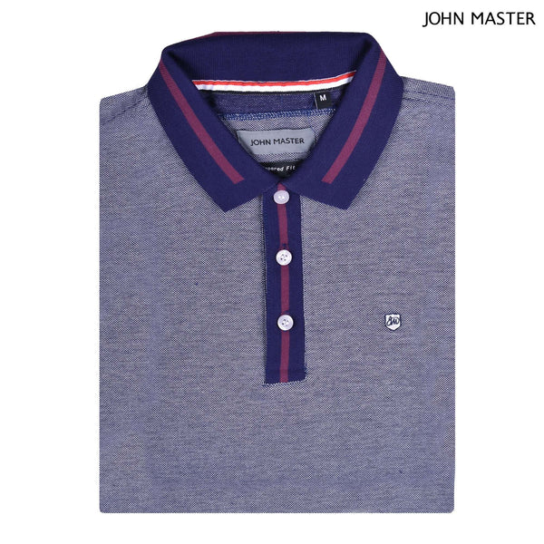 John Master Tapered Fit Cotton Short Sleeve Polo Tee Navy 8287008-L9 : Buy John Master online at CMG.MY