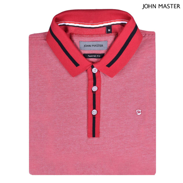 John Master Tapered Fit Cotton Short Sleeve Polo Tee Red 8287008-R5 : Buy John Master online at CMG.MY