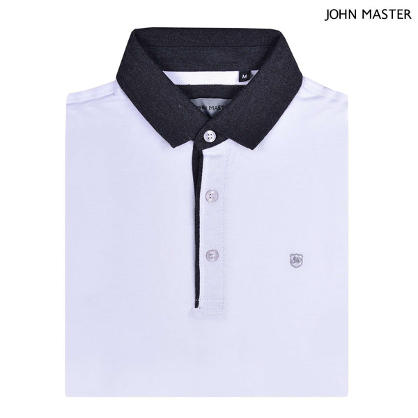 John Master Tapered Fit Cotton Short Sleeve Polo Tee White 8287010-AO : Buy John Master online at CMG.MY