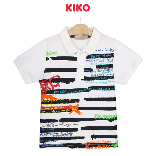 KIKO Boy Short Sleeve Collar Tee - White 130090-121 : Buy KIKO online at CMG.MY