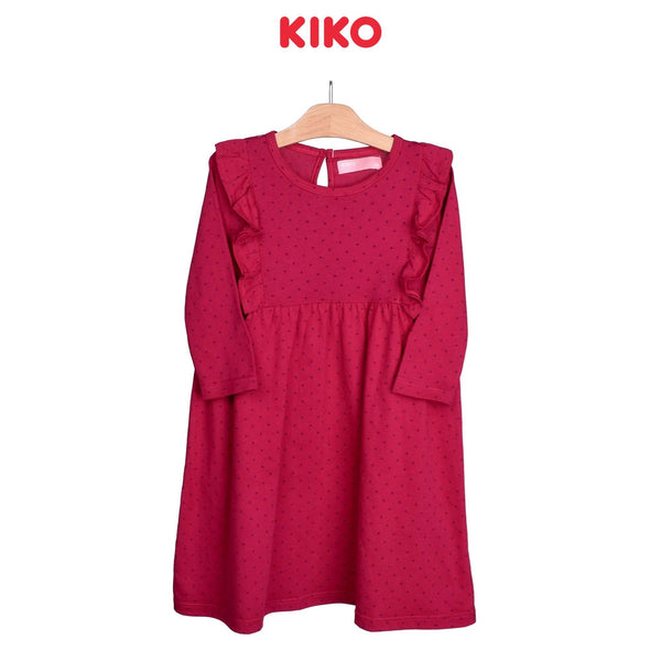KIKO Girl Knit Long Sleeve Dress-Maroon 126097-332 : Buy KIKO online at CMG.MY