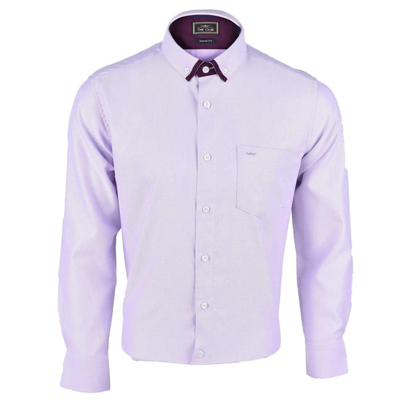 The Club Tapered Fit Cotton Long Sleeve Shirt Long Sleeve Shirt Light Purple 9707708 : Buy John Master online at CMG.MY